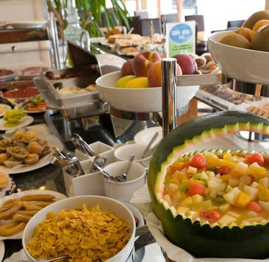 The breakfast buffet is the best way to start the ...