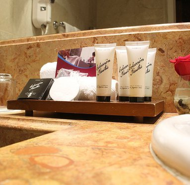 The bathrooms are equipped with exclusive luxury amenities