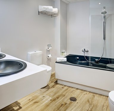 The hotel offers suites with large and completed bathrooms.