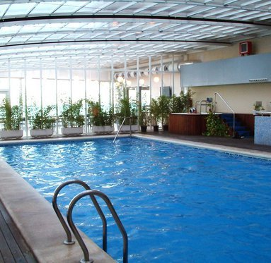 The hotel has an indoor pool for the guests.