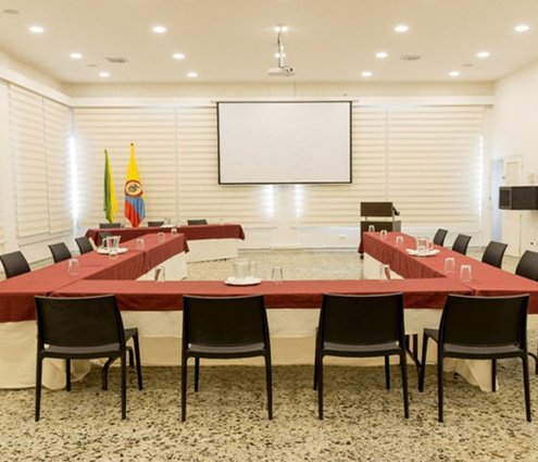 The Buenaventura room is designed to host work meetings or ...