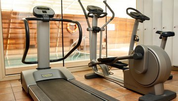 The hotel boasts a gym within the facilities to get ...